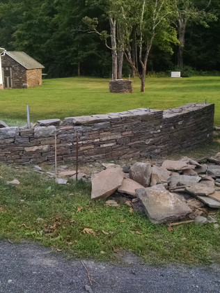 Natural Stone Wall During